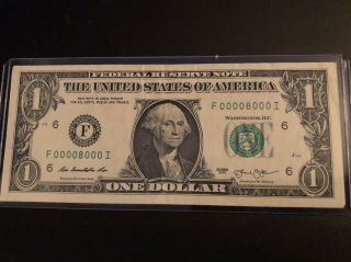 "Fancy Serial Number ""00008000"" 7 Of A Kind Low Serial Number $1 2013 Seven Zeros"