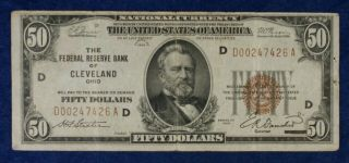 1929 $50 Federal Reserve Bank Of Cleveland National Currency Banknote