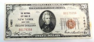 1929 $20 National City Bank York Ny National Currency Paper Money Note