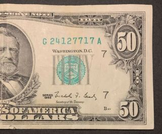1988 Series $50 Note,  Chicago District S G 24127717 A