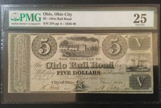 1840 Ohio Rail Road 5 Dollars Pmg Certified Banknote