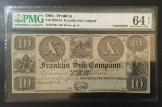 1836 - 1838 Ohio Franklin Rail Co 10 Dollars Pmg Certified Banknote