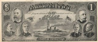 American Navy War Add Note Tailor Worcester Ma Circa 1900 Milliken Novelty