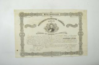 Authentic - 1862 Confederate States - Civil War $500 Bond Certificate 038