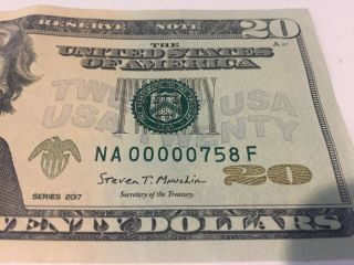 2017 Twenty Dollar Frb Banknote $20 Ultra Low Fancy Serial Number Na00000758f
