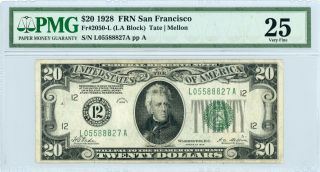 1928 Fr.  2050 - L $20 U.  S.  (san Francisco,  Ca) Federal Reserve Note - Pmg Vf 25