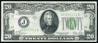 "1928 - B $20 Frn Federal Reserve Note ""gold On Demand"" Kansas City,  Mo Xf,"