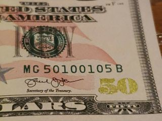 2013 $50 Dollar Bill Fancy Mirror Serial Number