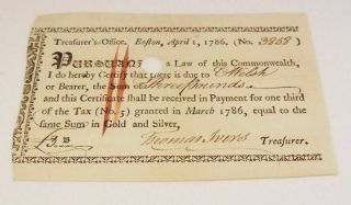 1786 Early American Boston Massachusetts Treasurer