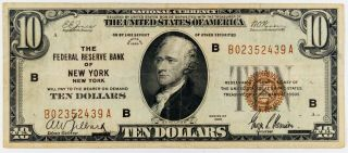 1929 $10 York Ny National Currency Federal Reserve Bank Of York