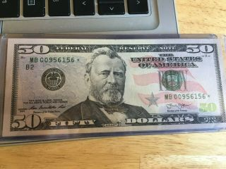 U S Federal Reserve Note 50 Dollar Bill With Low Number M B 00956156 Star