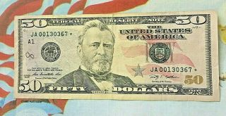 U S Federal Reserve Note 50 Dollar Bill With Low Number J A 00130367 Star