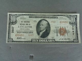 Us National Currency $10 Bill National Bank Of Lancaster 1929