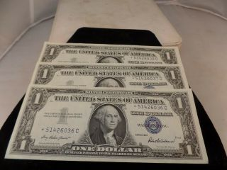 (3) 1957 $1 Star Silver Certificate Unc,  Sequential Order