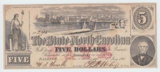 North Carolina Nc State Confederate Currency 1863 5 Dollars