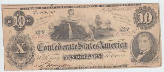 T46 Csa Confederate Currency 1862 $10 Dollars