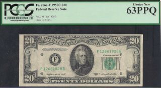1950c Us Bank Note $20 Frn F 2062 - F Smith/dillon Pcgs 63ppq Choice Tmm