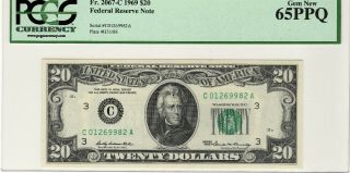 1969 $20 Federal Reserve Note,  Fr.  2067 - C Pcgs Gem 65ppq