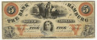 1860 $5 Bank Of Hamburg South Carolina Sc F/vf Priced Right (inv 642)