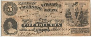 Virginia Treasury Note - Richmond - $5.  00 - Oct.  15,  1861