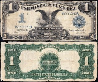 Circulated 1899 $1 Black Eagle Silver Certificate M2776242a