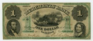1861 $1 The Merchants Bank - Trenton,  Jersey Note Civil War Era