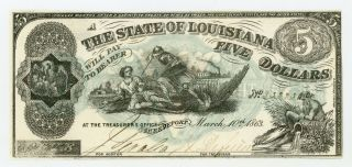 "1863 Cr.  14 $5 State Of Louisiana "" South Strikes Down Union "" Note Au"