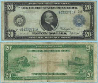 1914 U.  S.  $20 Federal Reserve Note York F/vf Fr 968 715a