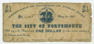 1861 $1 The City Of Portsmouth,  Virginia Note - Civil War Era