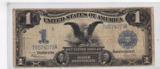 Kappyscoins 11832 1899 $1.  00 Black Eagle Large Silver Certificate Circulated