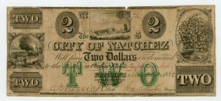 1862 $2 The City Of Natchez,  Mississippi Note - Civil War Era