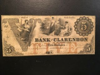 Usa 5 Dollars Obsolete 1855 - - Bank Of Clarendon - - - Fayetteville,  Nc