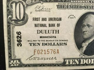 Usa 10 Dollars National 1929 - - Duluth,  Mn.  - - Charter 3626 - -
