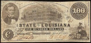 1863 $100 Dollar Bill State Of Louisiana Shreveport Bank Note Paper Money Cr 11
