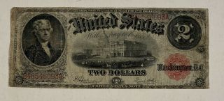 1917 $2 Two Dollar Bill Usa Large Note Red Seal Jefferson