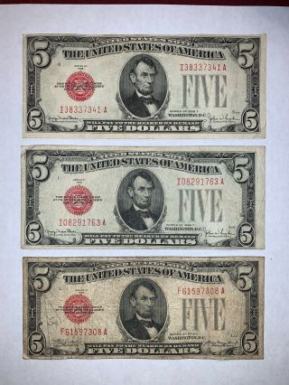 (3) 1928 $5 Red Seal Legal Tender United States Note F - Vf