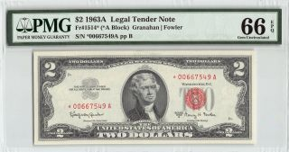United States 1963a Fr.  1514 Pmg Gem Unc 66 Epq 2 Dollars Legal Tender Star