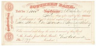 1859 Southern Bank Of Orleans,  Louisiana Third Of Exchange,  London,  Crisp