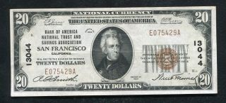 1929 $20 Bank Of America San Francisco,  Ca National Currency Ch.  13044 Vf/xf