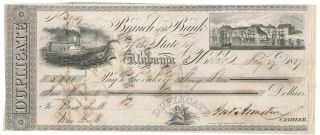 $5000 1837 Bank Of Alabama,  Mobile Draft,  Alligator,  Steamship,  Vignettes
