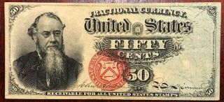 Usa Fractional Currency - Stanton - 50 Cents - 4th Issue - Fr - 1376 - Extra Fine,