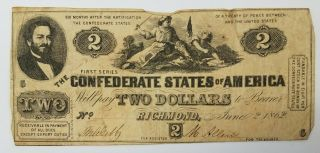 1862 $2 The Confederate States Of America Note