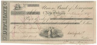 1837 Union Bank Of Louisiana Orleans Time Draft,  Rawdon,  Wright,  Hatch & Co.