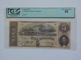 Civil War Confederate 1863 5 Dollar Bill Pcgs Richmond Virginia Paper Money Csa