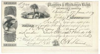 1859 Planters Mechanics Bank,  Charleston Sc Third Bill Of Exchange,  London Crisp