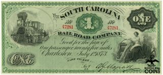1873 South Carolina $1 Railroad Company Unc Note Cu 16725