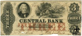 1856 United States $3 Central Bank Of Alabama Obsolete Old Money
