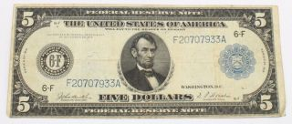 1914 United States $5 - Five Dollar Atlanta Large Federal Reserve Note 8445 - 5