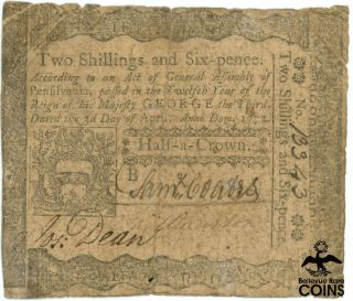 1772 United States Pennsylvania 2 Shillings And 6 Pence Colonial Currency Note