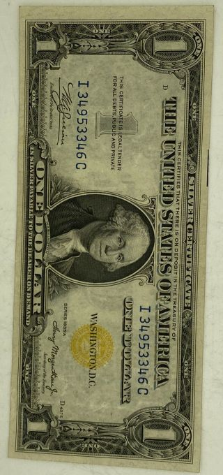 1935 $1 Yellow Seal Silver Certificate North Africa Note